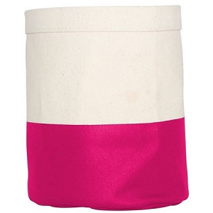 Monogrammed Canvas Mini Bucket in Hot Pink