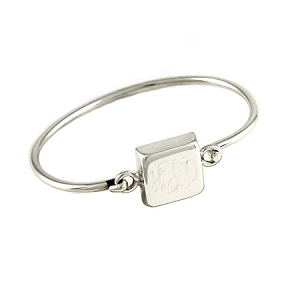 Children's Sterling Silver Monogrammed Square Bangle