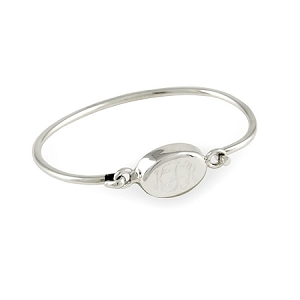 Sterling Silver Monogrammed Oval Bangle