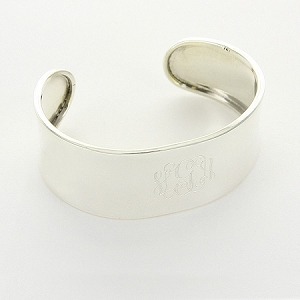 Sterling Silver Monogrammed Concave Cuff - Small