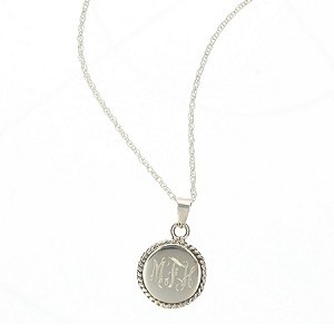 Sterling Silver Engraved Pendant Necklace - Round with Braided Trim
