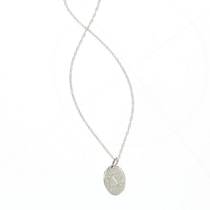 Sterling Silver Engraved Pendant Necklace - Oval