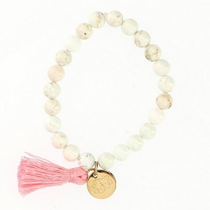 Beaded White Marble Stone Bracelet with Gold Plated Charm and Tassel