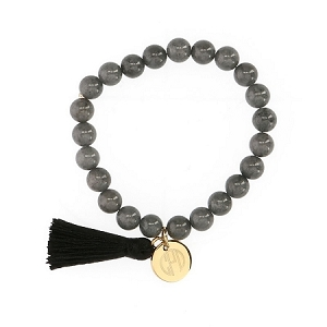 Beaded Grey Stone Bracelet with Gold Plated Charm and Tassel