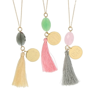 Gold Tone Jeweled Tassle Necklaces