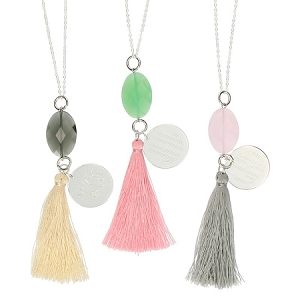 Silver Toned Jeweled Tassle Necklaces
