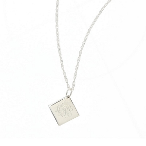 Sterling Silver Engraved Pendant Necklace - Diamond