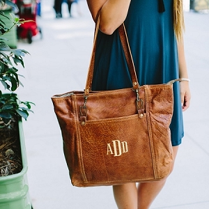 Monogrammed Leather Rustic Carryall
