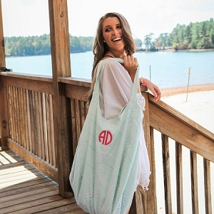 Monogrammed Hold Everything Hobo Bag - Mint