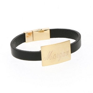 Rectangle Leather Bracelet - Black