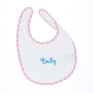Gingham Trimmed Terry Baby Bib - Pink