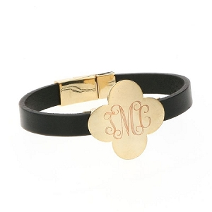 Clover Leather Bracelet - Black