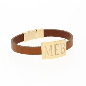 Rectangle Leather Bracelet - Brown