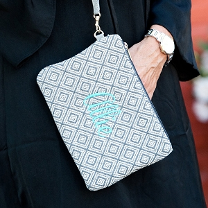 Monogrammed Everyly Wristlet - Gray Diamond