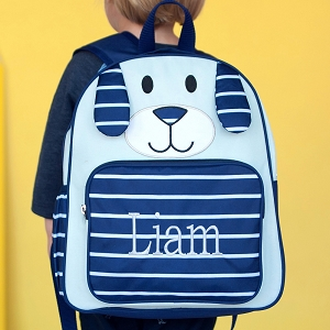 Monogrammed Pre-School Backpack - Navy Puppy