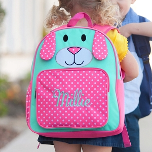 Monogrammed Pre-School Backpack - Pink Puppy