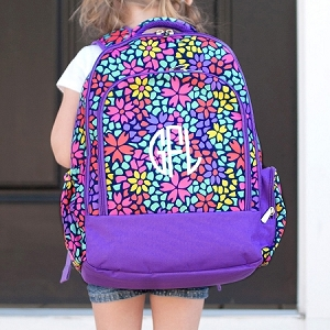 Monogrammed Backpack - Petal Punch