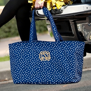 Monogrammed Ultimate Tote - Navy Dot
