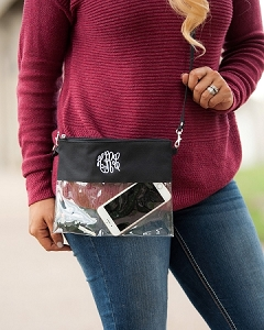 Monogrammed Clear Stadium Purse - Black
