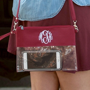 Monogrammed Clear Stadium Purse, Garnet
