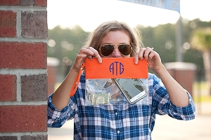 Monogrammed Clear Stadium Purse - Orange