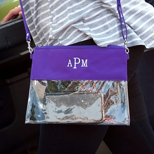 Monogrammed Clear Stadium Purse - Purple