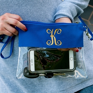 Monogrammed Clear Stadium Purse - Royal Blue