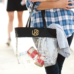 Monogrammed Clear Stadium Tote - black