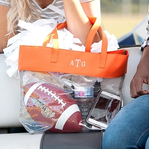Monogrammed Clear Stadium Tote - Orange