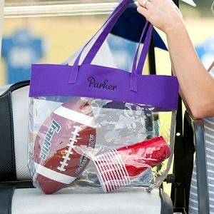 Monogrammed Clear Stadium Tote - Purple