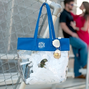 Monogrammed Clear Stadium Tote - Royal Blue