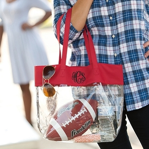 Monogrammed Clear Stadium Tote - Red