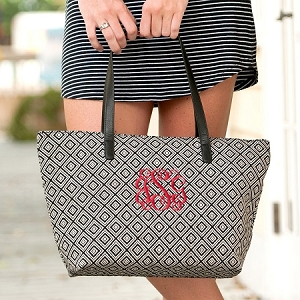 Monogrammed Charlotte Purse - Black Diamond
