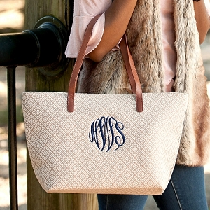 Monogrammed Charlotte Purse - Tan Diamond