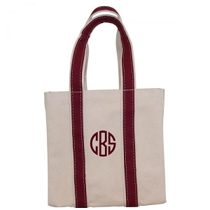 Monogrammed Four Bottle Wine Tote - Maroon