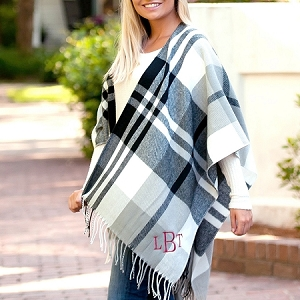 Monogrammed Shawl, Black/Gray