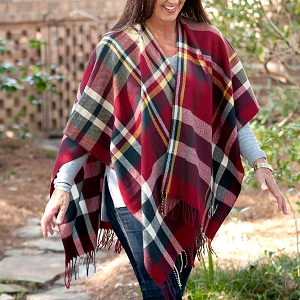 Monogrammed Shawl, Garnet/Navy Plaid