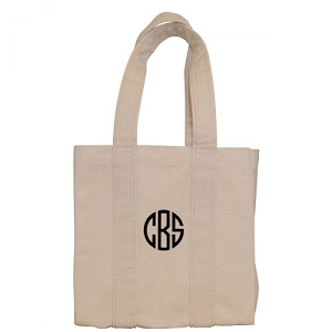 Monogrammed Four Bottle Wine Tote - Natural