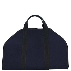 Monogrammed Laminated Log Carrier Firewood Tote in Navy