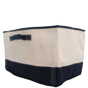 Monogrammed Canvas Storage Tub with Navy Accent