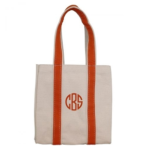 Monogrammed Four Bottle Wine Tote - Orange