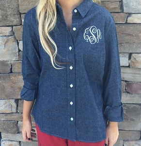 Monogrammed Chambray Oxford