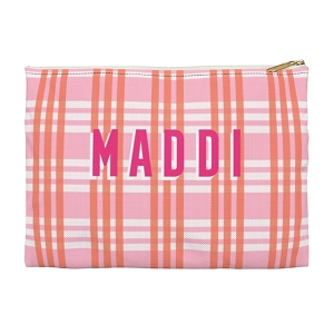 Monogrammed Clutch - Grayson Plaid Pink (Large)