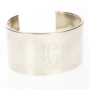 Sterling Silver Monogrammed Concave Cuff - Large