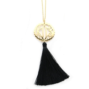 Scallop Filigree Monogram Necklace with Tassel