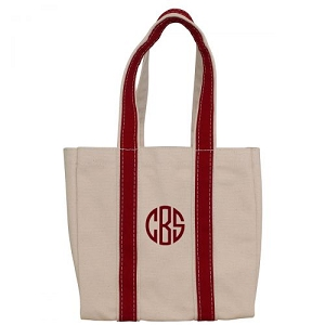 Monogrammed Four Bottle Wine Tote - Red