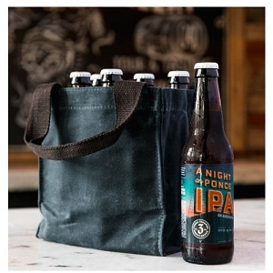 Monogrammed Waxed Canvas Beer Tote - Slate