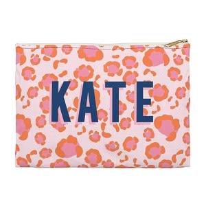 Monogrammed Clutch - Leopard Spots Pink (Small)