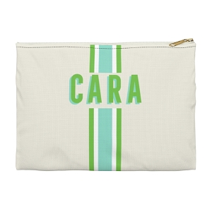 Monogrammed Clutch - Stripe Limeaide (Small)
