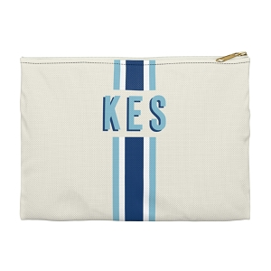 Monogrammed Clutch - Stripe Navy/Blue (Small)